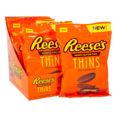 REESE'S PEANUT BUTTER CUPS THINS MILK CHOCOLATE 3.1 OZ PEG BAG