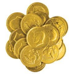 NASSAU CANDY GOLD FOIL CHOCOLATEY CANDY KENNEDY COINS 1.5""