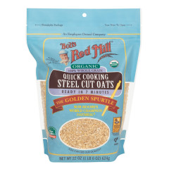 BOB'S RED MILL ORGANIC QUICK COOK STEEL CUT OATS 22 OZ PEG BAG
