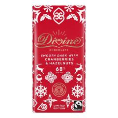 DIVINE DARK CHOCOLATE CRANBERRIES & HAZELNUT 3.2 OZ BAR