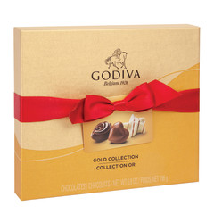GODIVA 19 PIECE GOLD VALENTINE BALLOTIN 7.1 OZ BOX