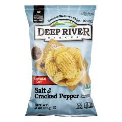DEEP RIVER SALT & CRACKED PEPPER KRINKLE CUT KETTLE CHIPS 2 OZ BAG