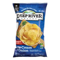 DEEP RIVER SOUR CREAM & ONION KRINKLE CUT KETTLE CHIPS 5 OZ BAG