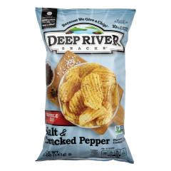 DEEP RIVER SALT & CRACKED PEPPER KRINKLE CUT KETTLE CHIPS 5 OZ BAG