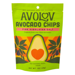 AVOLOV PINK HIMALAYAN SALT AVOCADO CHIPS 1 OZ PEG BAG