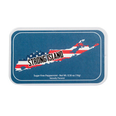 AMUSEMINTS STRONG ISLAND SUGAR FREE PEPPERMINT 0.56 OZ TIN