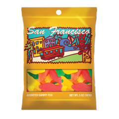 AMUSEMINTS SAN FRANCISCO ASSORTED GUMMY FISH 5 OZ PEG BAG *SF DC ONLY*