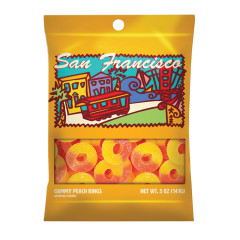AMUSEMINTS SAN FRANCISCO GUMMY PEACH RINGS 5 OZ PEG BAG *SF DC ONLY*