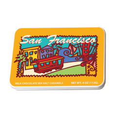 AMUSEMINTS SAN FRANCISCO MILK SEA SALT CARAMELS 4 OZ TIN *SF DC ONLY*