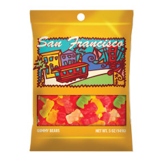 AMUSEMINTS SAN FRANCISCO GUMMY BEARS 5 OZ PEG BAG *SF DC ONLY*
