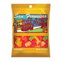 AMUSEMINTS SAN FRANCISCO GUMMY BEARS 5 OZ PEG BAG *SF DC ONLY*