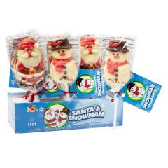 SANTA & SNOWMAN MILK CHOCOLATE LOLLIPOP 2.2 OZ