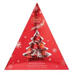 LINDT LINDOR MILK CHOCOLATE TRUFFLES 5.9 OZ TREE BOX