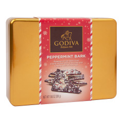 GODIVA HOLIDAY PEPPERMINT BARK TIN