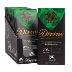 DIVINE 70% DARK CHOCOLATE WITH MINT CRISP 3 OZ BAR