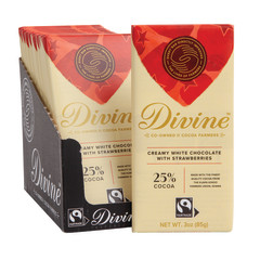 DIVINE WHITE CHOCOLATE WITH STRAWBERRIES 3 OZ BAR