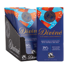 DIVINE MILK CHOCOLATE WITH TOFFEE & SEA SALT 3 OZ BAR