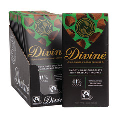 DIVINE DARK CHOCOLATE HAZELNUT TRUFFLE 3 OZ BAR