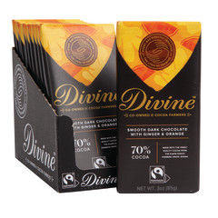 DIVINE 70% DARK CHOCOLATE WITH GINGER & ORANGE 3 OZ BAR