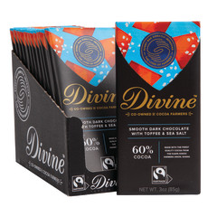 DIVINE 68% DARK CHOCOLATE WITH SEA SALT & TOFFEE 3 OZ BAR