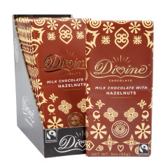 DIVINE MILK CHOCOLATE WITH CHOPPED HAZELNUTS 3 OZ BAR