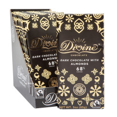 DIVINE DARK CHOCOLATE WITH ALMONDS 3 OZ BAR