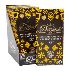 DIVINE 70% DARK CHOCOLATE WITH MANGO & COCONUT 3 OZ BAR