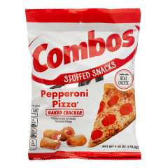 COMBOS PEPPERONI PIZZA BAKED CRACKER 6.3 OZ PEG BAG