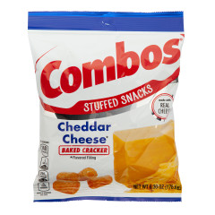COMBOS CHEDDAR CHEESE BAKED CRACKER 6.3 OZ PEG BAG