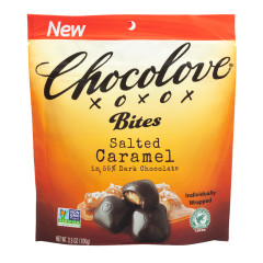 CHOCOLOVE SALTED CARAMEL BITES IN DARK CHOCOLATE 3.5 OZ POUCH