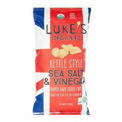 LUKE'S ORGANIC SEA SALT & VINEGAR KETTLE CHIPS 4 OZ BAG