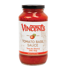 VINCENT'S TOMATO BASIL SAUCE 25 OZ JAR