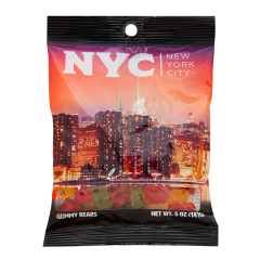 NYC SOUVENIR SKYLNE AT DUSK 5 OZ DIGIBAG WITH GUMMY BEARS