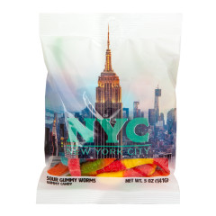 NYC SOUVENIR EMPIRE STATE LIT 5 OZ DIGIBAG WITH SOUR WORMS