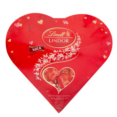 LINDT LINDOR MILK CHOCOLATE AND STRAWBERRY TRUFFLES HEART BOX 3.4 OZ