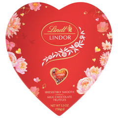 LINDT LINDOR MILK CHOCOLATE TRUFFLES 5.7OZ HEART BOX