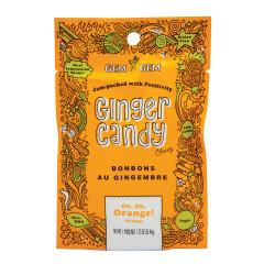 GEM GEM CHEWY ORANGE GINGER CANDY 1.25 OZ PEG BAG
