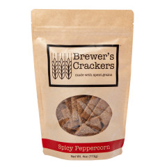 BREWER'S SPICY PEPPERCORN CRACKERS 4 OZ POUCH