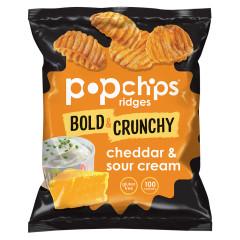 POPCHIPS RIDGES CHEDDAR AND SOUR CREAM POTATO CHIPS 0.8 OZ BAG