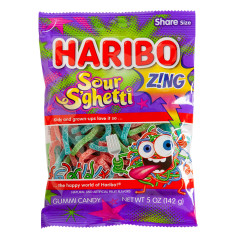 HARIBO SOUR S'GHETTI GUMMI CANDY 5 OZ PEG BAG