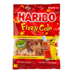 HARIBO FIZZY COLA GUMMI CANDY 5 OZ PEG BAG