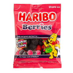 HARIBO BERRIES GUMMI CANDY 5 OZ PEG BAG