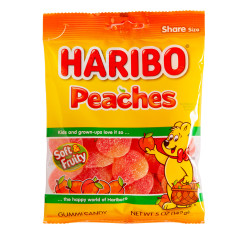 HARIBO PEACHES GUMMI CANDY 5 OZ PEG BAG