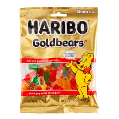 HARIBO GOLD BEARS GUMMI CANDY 5 OZ PEG BAG