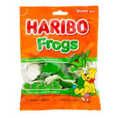 HARIBO FROGS GUMMI CANDY 5 OZ PEG BAG