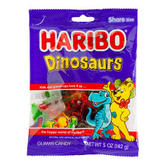 HARIBO DINOSAURS GUMMI CANDY 5 OZ PEG BAG