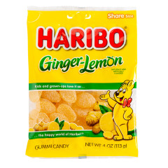 HARIBO GINGER LEMON GUMMI CANDY 4 OZ PEG BAG