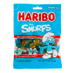 HARIBO THE SMURFS GUMMI CANDY 4 OZ PEG BAG