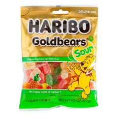 HARIBO SOUR GOLD BEARS GUMMI CANDY 4.5 OZ PEG BAG
