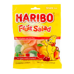HARIBO FRUIT SALAD GUMMI CANDY 5 OZ PEG BAG